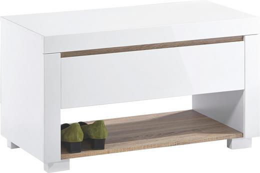 GARDEROBENBANK Eiche Sonoma Eiche, Weiß - Weiß/Sonoma Eiche, Design, Holzwerkstoff (83/47/42cm) - Xora