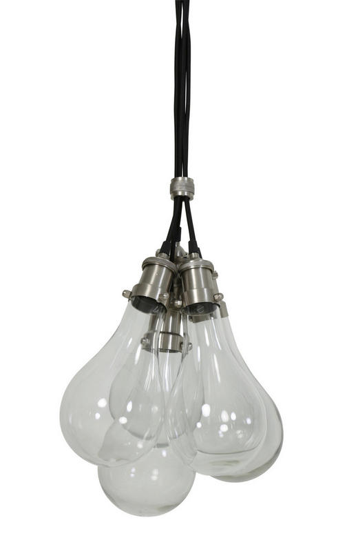 HÄNGELEUCHTE - Klar/Grau, KONVENTIONELL, Glas/Textil (14/180cm)