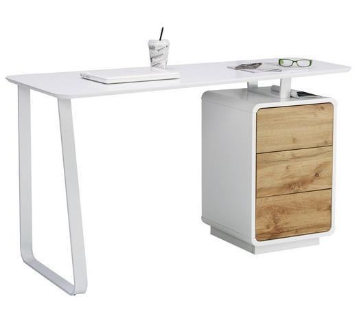 PSACÍ STŮL, bílá, barvy dubu - bílá/barvy dubu, Design, kov/kompozitní dřevo (140/76/60cm) - Xora