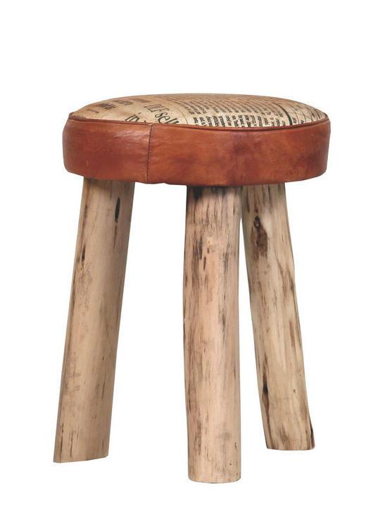 HOCKER Echtleder Mangoholz massiv Braun - Braun, Design, Leder/Holz (38/50cm)