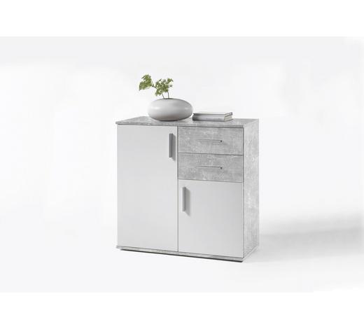 KOMMODE Grau, Weiß  - Silberfarben/Weiß, KONVENTIONELL, Holzwerkstoff/Kunststoff (80/82/35cm) - Carryhome