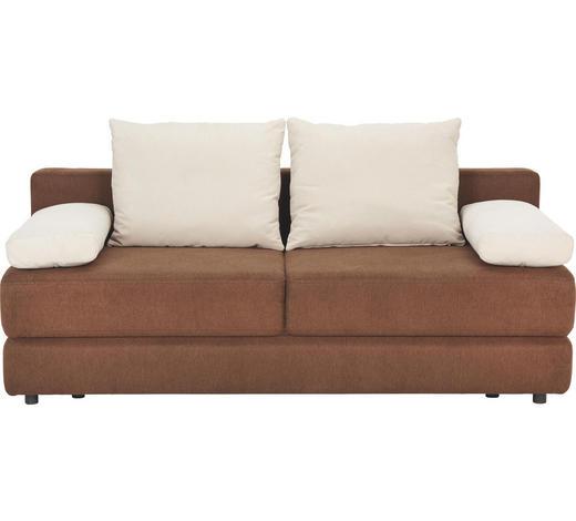 SCHLAFSOFA Webstoff Dunkelbraun, Beige - Dunkelbraun/Beige, Design, Kunststoff/Textil (208/80/100cm) - Carryhome