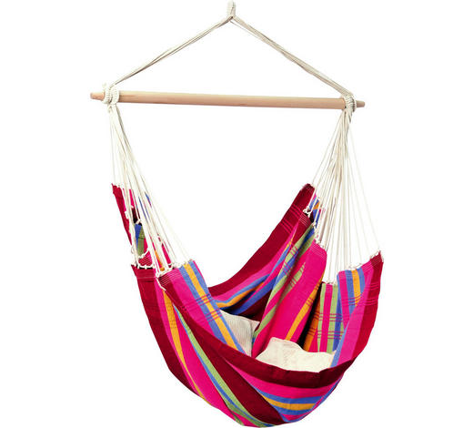 HÄNGESESSEL - Pink/Gelb, KONVENTIONELL, Holz/Textil (110cm)