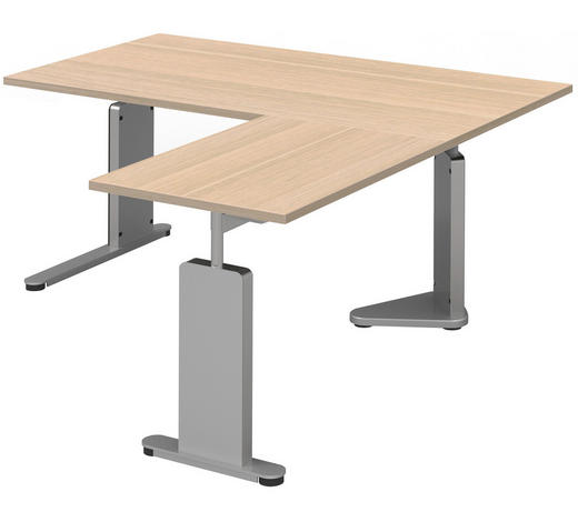 ECKSCHREIBTISCH - Eichefarben/Alufarben, Design, Holzwerkstoff/Metall (160/68-82/160cm)