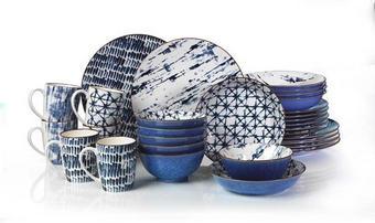Steinzeug  KOMBISERVICE 30-teilig - Blau/Weiß, Trend, Keramik - Ritzenhoff Breker