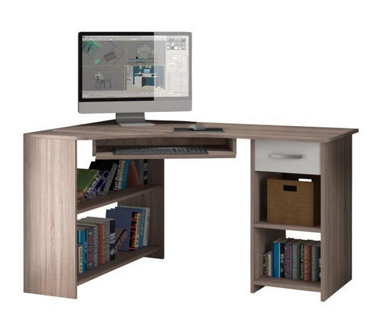 PISAĆI STOL - bijela/boje aluminija, Design, drvni materijal/metal (78/118/75cm) - Boxxx