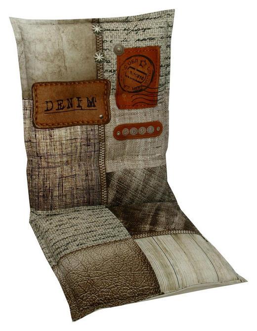 SESSELAUFLAGE Schriftzug - Beige/Braun, Design, Textil (50/100cm)