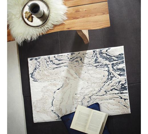 TEPPICH  60/90 cm  Silberfarben, Weiß   - Silberfarben/Weiß, Trend, Kunststoff/Textil (60/90cm)