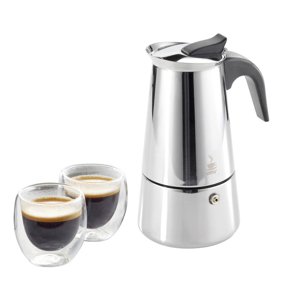 Gefu Espressokocher mit 2 gläsern