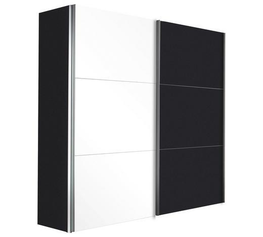 SCHWEBETÜRENSCHRANK in Graphitfarben, Weiß  - Alufarben/Graphitfarben, Design, Glas/Holzwerkstoff (250/236/68cm) - Hom`in