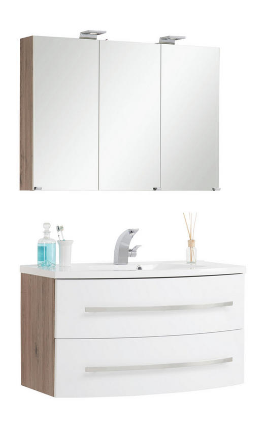 BADEZIMMER Eichefarben, Weiß - Eichefarben/Weiß, Design, Glas (100/74/48cm) - Xora