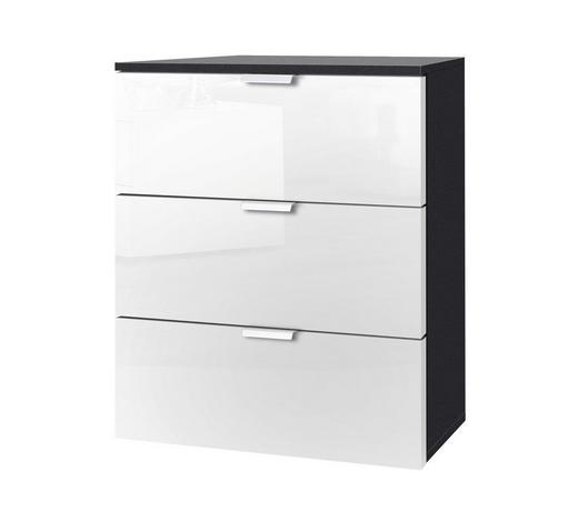 KOMMODE Graphitfarben, Weiß  - Graphitfarben/Alufarben, KONVENTIONELL, Glas/Metall (50/61/42cm) - Carryhome