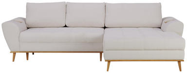 WOHNLANDSCHAFT in Textil Creme  - Eichefarben/Creme, Design, Holz/Textil (282/175cm) - Carryhome