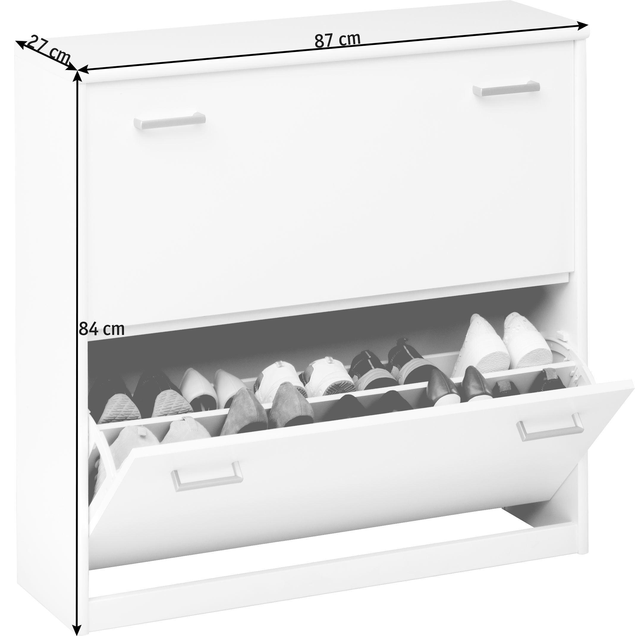 SCHUHKIPPER Weiß - Silberfarben/Weiß, Design, Kunststoff (87/84/27cm) - CS SCHMAL