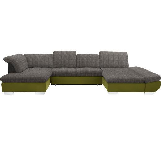 WOHNLANDSCHAFT in Textil Grün, Hellbraun - Chromfarben/Hellbraun, Design, Kunststoff/Textil (211/350/204cm) - Xora