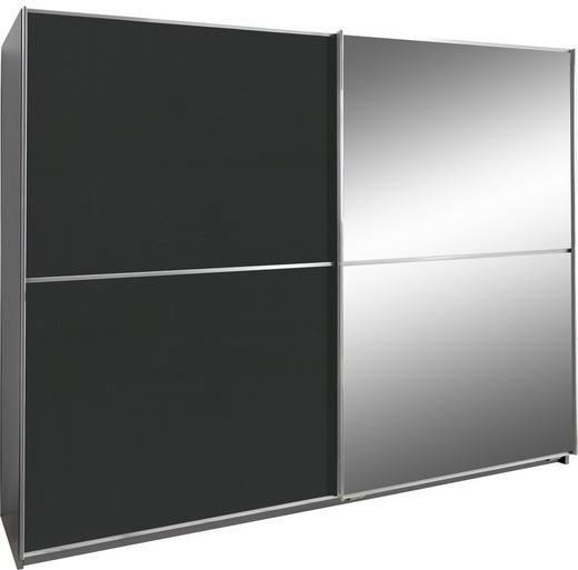 SCHWEBETÜRENSCHRANK 2-türig Alufarben, Graphitfarben - Alufarben/Graphitfarben, Design, Glas/Holzwerkstoff (180/198/64cm) - Xora