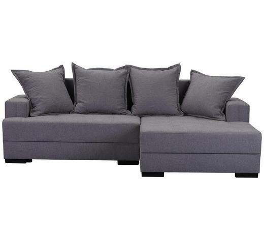 WOHNLANDSCHAFT in Textil Grau - Schwarz/Grau, KONVENTIONELL, Holz/Textil (238/148cm) - Carryhome