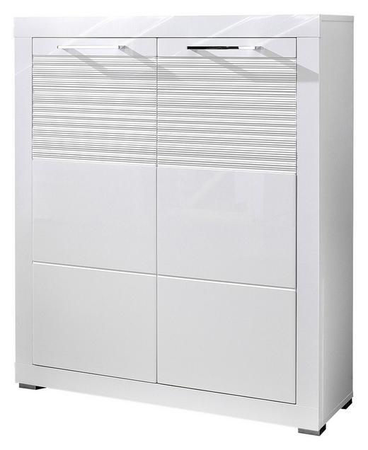 SCHUHSCHRANK geriffelt, Hochglanz Weiß - Chromfarben/Weiß, KONVENTIONELL, Holzwerkstoff/Metall (92/111/37cm) - Cantus