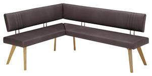 ECKBANK Mikrofaser Wildeiche massiv Eichefarben, Dunkelbraun  - Edelstahlfarben/Eichefarben, Design, Holz/Textil (160/200cm) - Venda