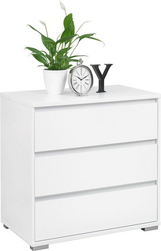 KOMMODE - Silberfarben/Weiß, Design, Holzwerkstoff (80/79/48cm) - Carryhome
