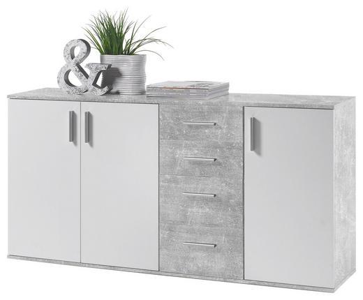KOMMODE Grau, Weiß - Silberfarben/Weiß, KONVENTIONELL, Holzwerkstoff/Kunststoff (160/82/35cm) - Carryhome