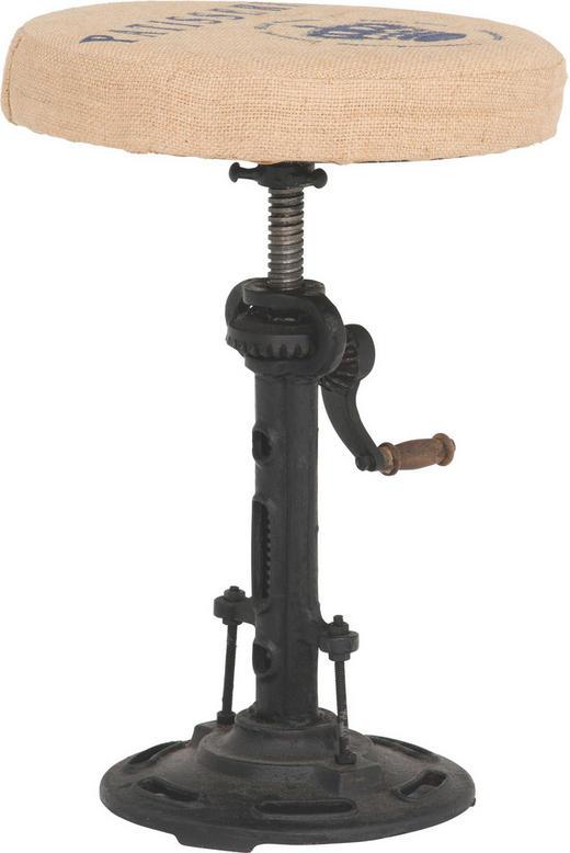 HOCKER in Metall, Textil Beige, Dunkelgrau - Dunkelgrau/Beige, Design, Textil/Metall (35/47-70cm)