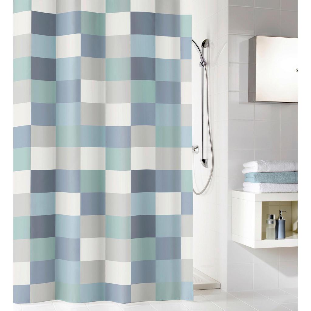 Image of Kleine Wolke Duschvorhang 180/200 cm , 5270 783 305 Check , Blau , Textil , Karo , 180x200 cm , wasserabweisend , 003342167701