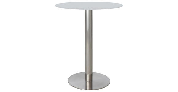 BARTISCH in Edelstahlfarben, Weiß - Edelstahlfarben/Weiß, Design, Glas/Metall (65cm) - Dieter Knoll