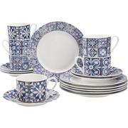 KAFFEESERVICE 18-teilig - Blau/Weiß, Basics, Keramik - Landscape