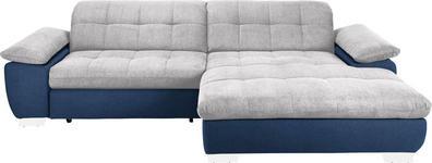 WOHNLANDSCHAFT in Textil Blau, Hellgrau  - Chromfarben/Blau, Design, Textil/Metall (265/180cm) - Carryhome