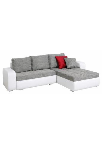 SEDEŽNA GARNITURA,  siva, bela tekstil  - siva/bela, Design, tekstil (245/170cm) - Boxxx