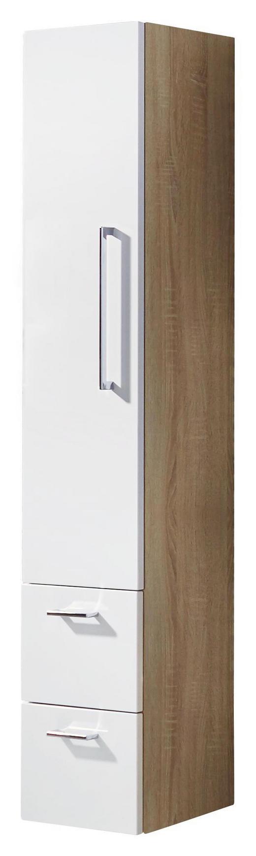 HOCHSCHRANK Weiß - Chromfarben/Eichefarben, KONVENTIONELL, Glas/Holzwerkstoff (30/160/30cm) - NOVEL