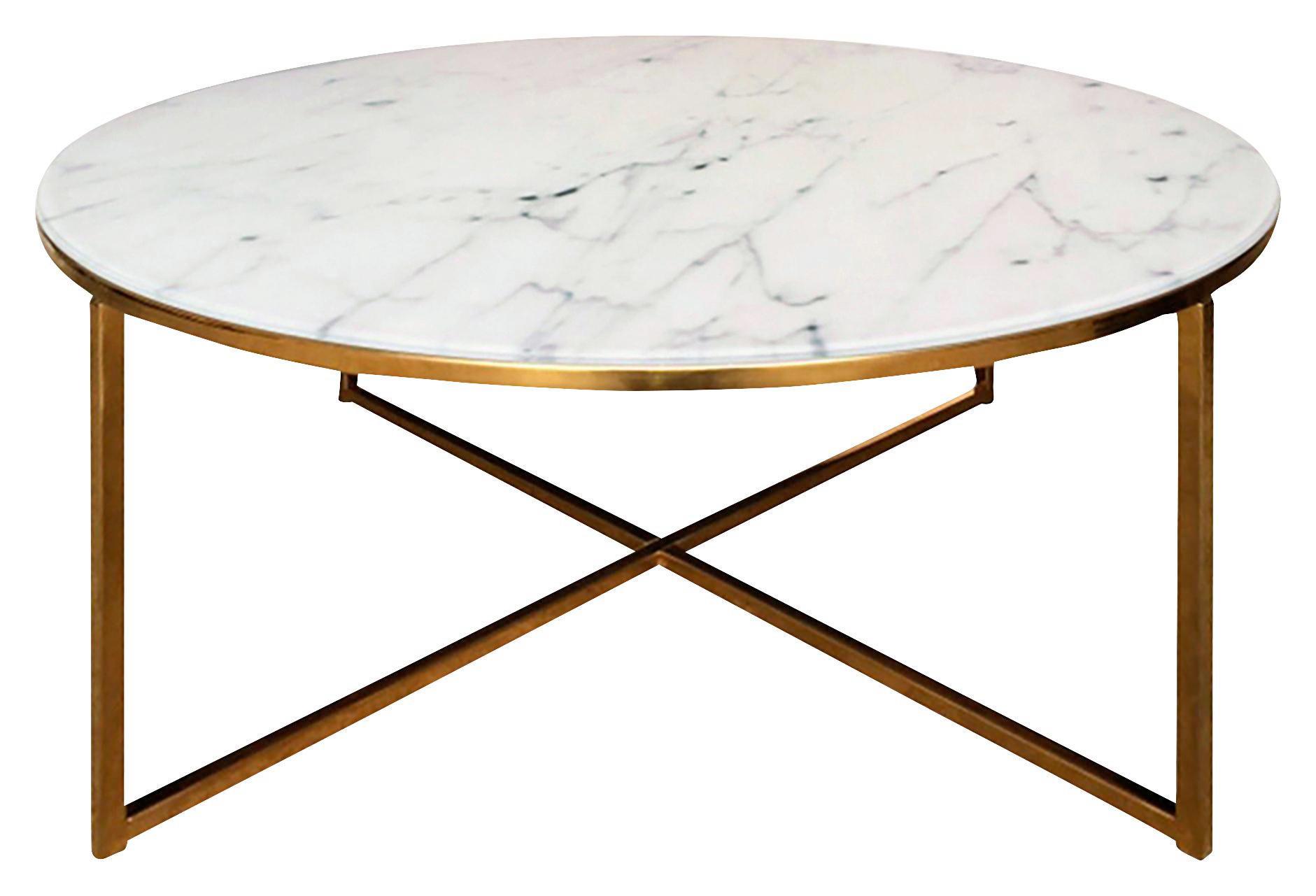 COUCHTISCH Rund Grau, Messingfarben, Weiß   Messingfarben/Weiß, Design,  Glas/