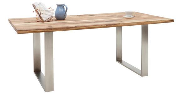ESSTISCH in Holz, Metall 200/100/77 cm   - Edelstahlfarben/Eichefarben, Natur, Holz/Metall (200/100/77cm) - Voleo
