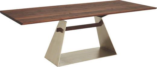 ESSTISCH in Holz, Metall 220/95/76 cm - Silberfarben/Nussbaumfarben, Design, Holz/Metall (220/95/76cm) - Cassando