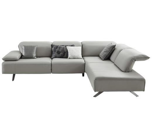 WOHNLANDSCHAFT in Leder Silberfarben  - Dunkelgrau/Anthrazit, Design, Leder/Metall (291/229cm) - Ambiente