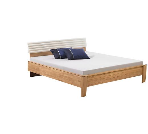 BETT 180/200 cm  in Weiß, Eichefarben - Eichefarben/Weiß, Design, Holz/Textil (180/200cm) - Valdera