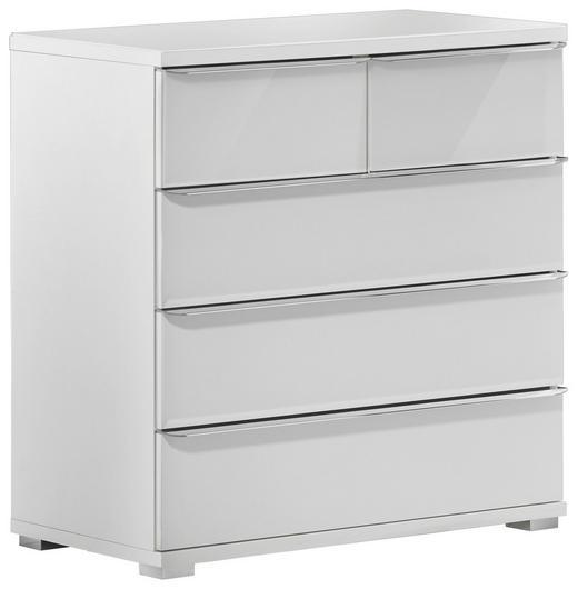 KOMMODE Weiß - Chromfarben/Weiß, Design, Kunststoff (80/80/40cm) - Moderano