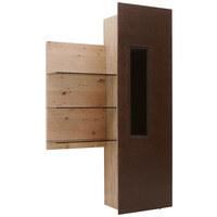 Vitrine in furniert, mehrschichtige Massivholzplatte (Tischlerplatte) Wildeiche Braun, Eichefarben - Eichefarben/Braun, Natur, Glas/Holz (120/202/42,2cm) - Voglauer