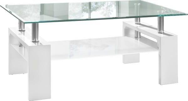 KLUBSKA MIZA, bela, prosojna - bela/prosojna, Design, kovina/steklo (100/45/60cm) - XORA