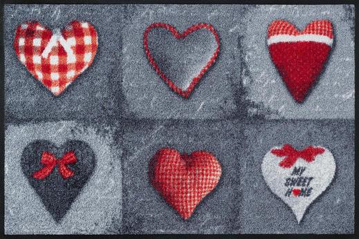 FUßMATTE 50/75 cm Graphik Grau, Rot - Rot/Grau, Basics, Kunststoff/Textil (50/75cm) - Esposa