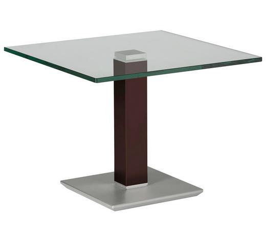 BEISTELLTISCH in Metall, Glas 60/60/46-65 cm - Edelstahlfarben/Braun, Design, Glas/Kunststoff (60/60/46-65cm)