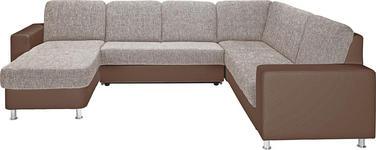 WOHNLANDSCHAFT in Textil Beige, Braun - Beige/Alufarben, KONVENTIONELL, Textil/Metall (167/303/229cm) - Xora