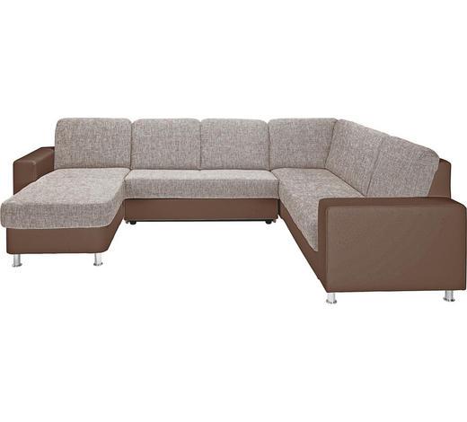 WOHNLANDSCHAFT in Textil Braun, Beige - Beige/Alufarben, KONVENTIONELL, Textil/Metall (167/303/229cm) - Xora