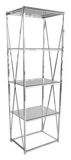HYLLA - kromfärg/transparent, Design, metall/glas (55/38/163cm)
