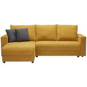 SEDACÍ SOUPRAVA, tmavě šedá, žlutá, textil - černá/tmavě šedá, Design, textil/umělá hmota (176/246cm) - XORA
