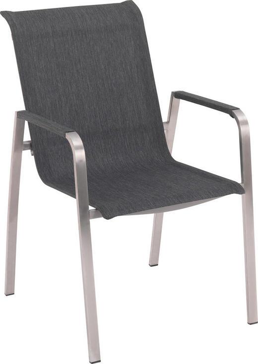 STAPELSESSEL Edelstahl Dunkelgrau, Edelstahlfarben - Edelstahlfarben/Dunkelgrau, Design, Textil/Metall (56/91/65,50cm) - Amatio