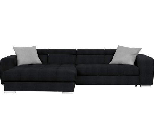 WOHNLANDSCHAFT in Textil Schwarz - Chromfarben/Schwarz, Design, Kunststoff/Textil (186/329cm) - Hom`in