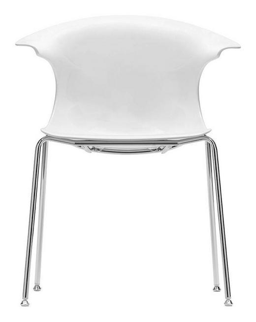 STUHL in Kunststoff, Metall Chromfarben, Weiß - Chromfarben/Weiß, Design, Kunststoff/Metall (59/86/63cm)