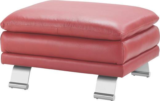 HOCKER Echtleder Rot - Rot/Alufarben, Design, Leder/Metall (84/46/70cm) - Celina Home
